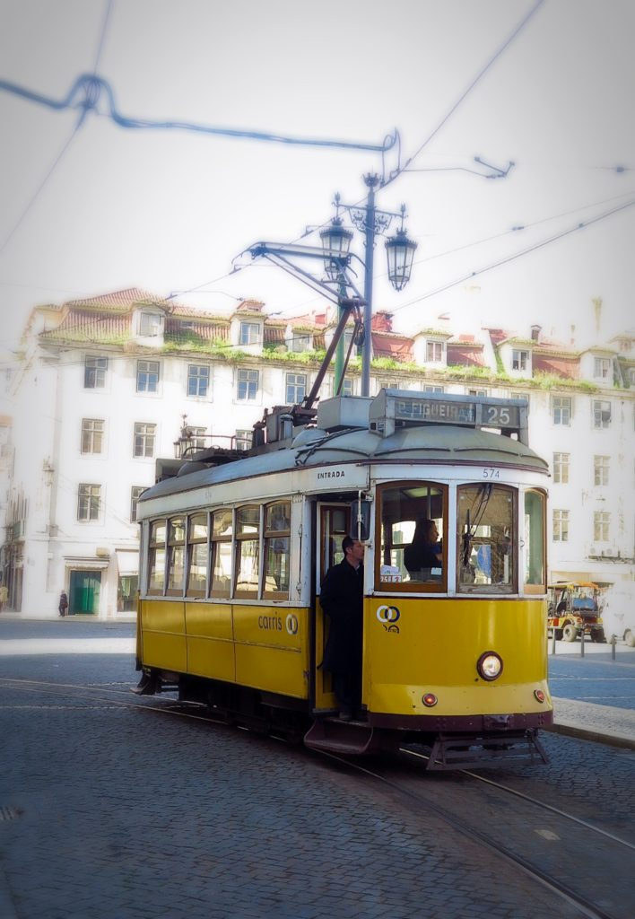 Yellow trams of Lisbon
