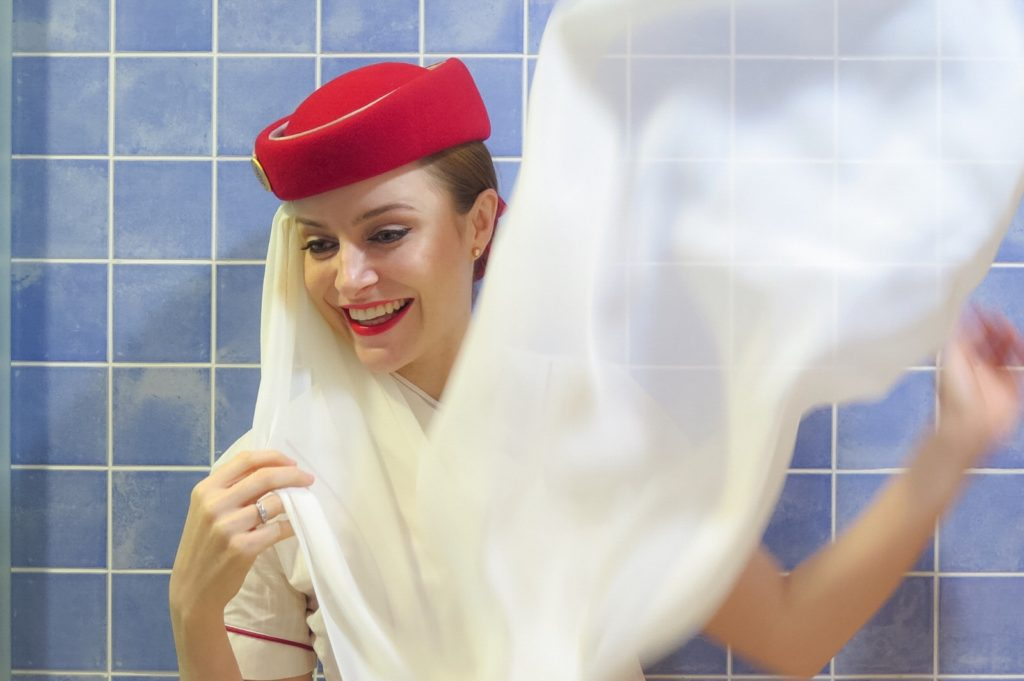 Emirates red hat cabin crew