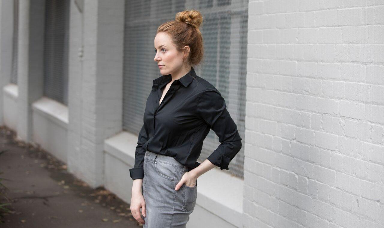 TRENERY UNIQLO | Jean Skirt Black Shirt | Seymour & Ford