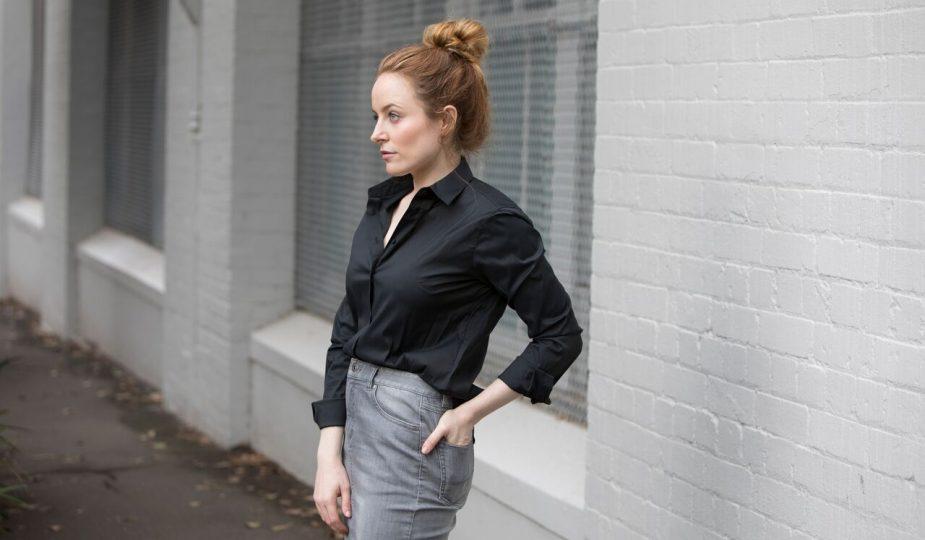 TRENERY UNIQLO   Jean Skirt Black Shirt   Seymour & Ford