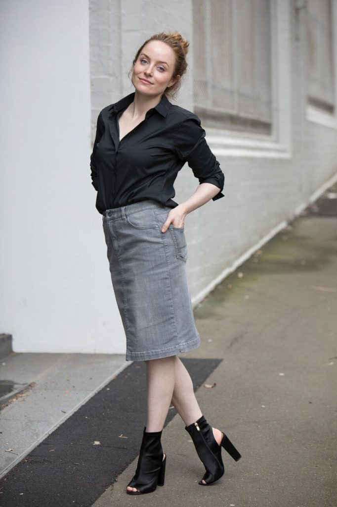 TRENERY UNIQLO | Jean Skirt Black Shirt | Seymour & Ford