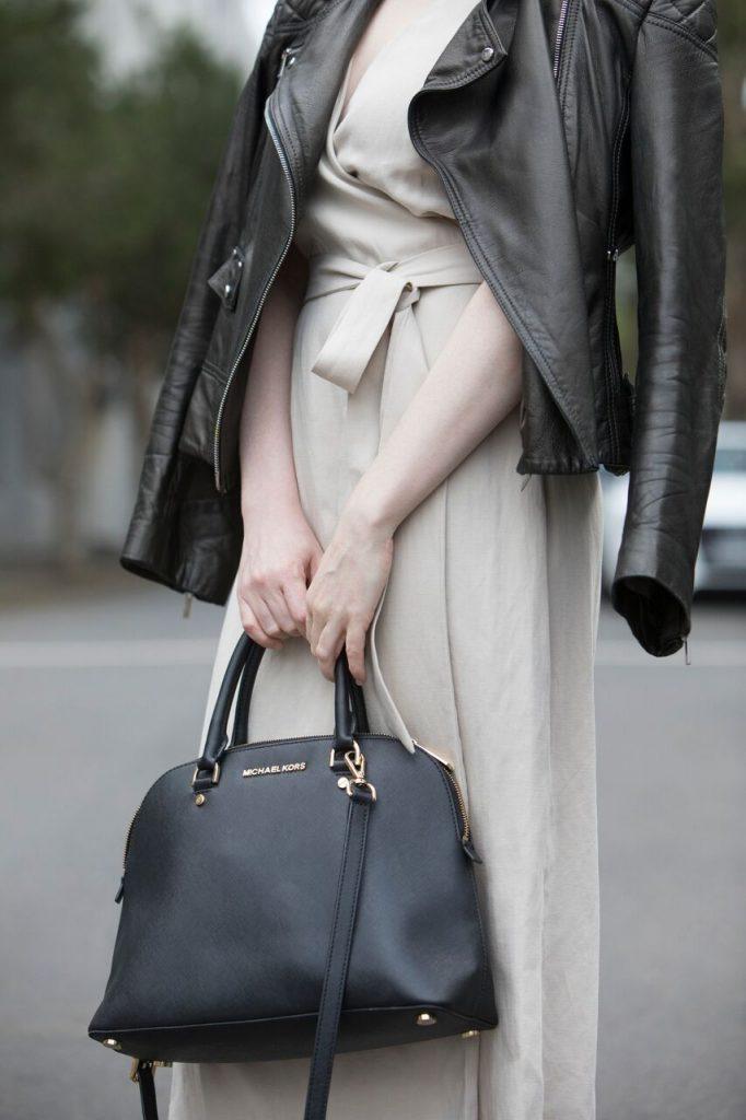 WITCHERY   KAREN MILLEN   Leather Jacket With Cream Dress   Seymour & Ford