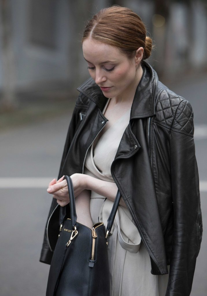 WITCHERY | KAREN MILLEN | Leather Jacket With Cream Dress | Seymour & Ford